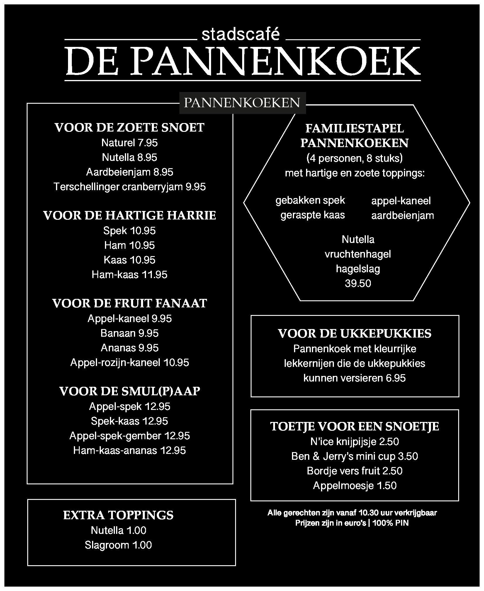 Menukaart pannenkoeken - stadscafé De Pannenkoek
